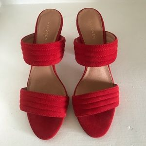 Halogen red suede women's shoes